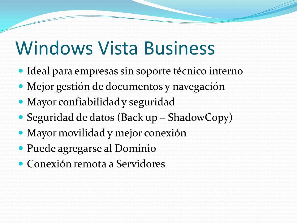 Windows Vista Business Ideal para empresas sin soporte técnico interno Mejor gestión de documentos y navegación Mayor confiabilidad y seguridad Seguri