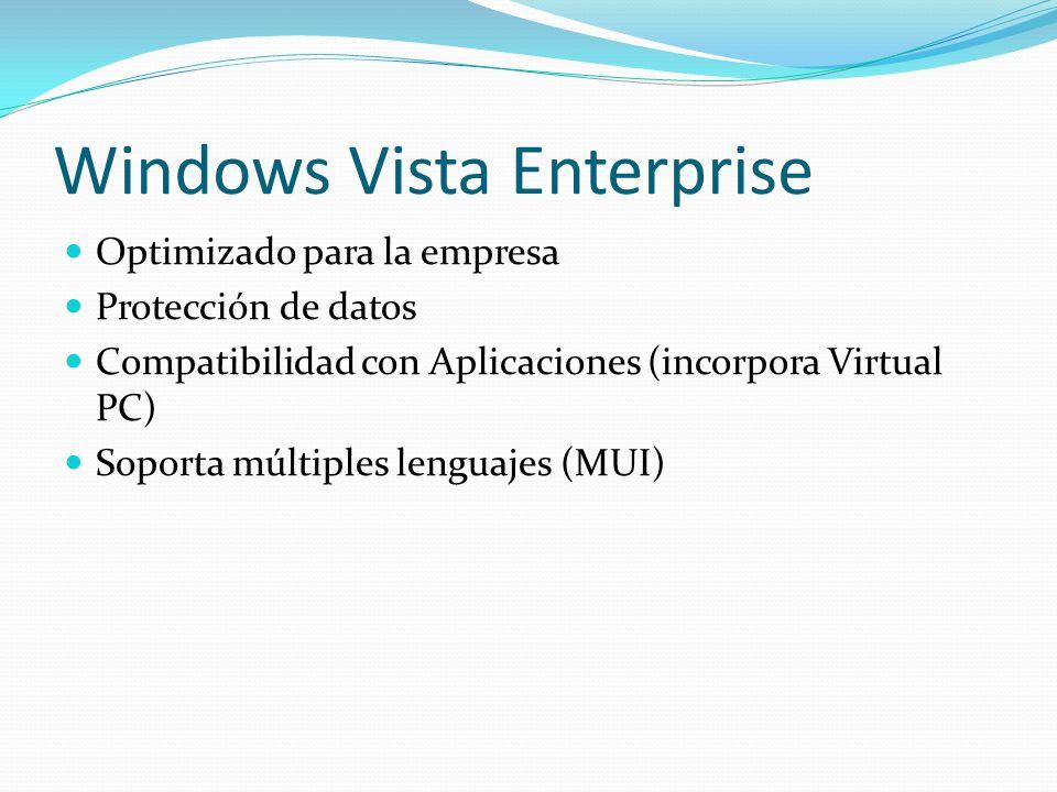 Windows Vista Enterprise Optimizado para la empresa Protección de datos Compatibilidad con Aplicaciones (incorpora Virtual PC) Soporta múltiples lengu