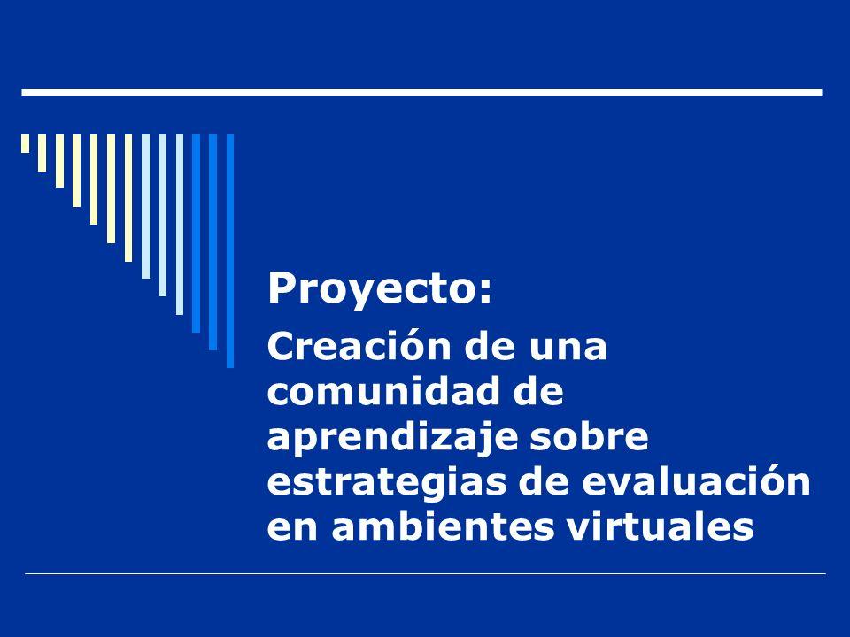Proyecto: Creación de una comunidad de aprendizaje sobre estrategias de evaluación en ambientes virtuales