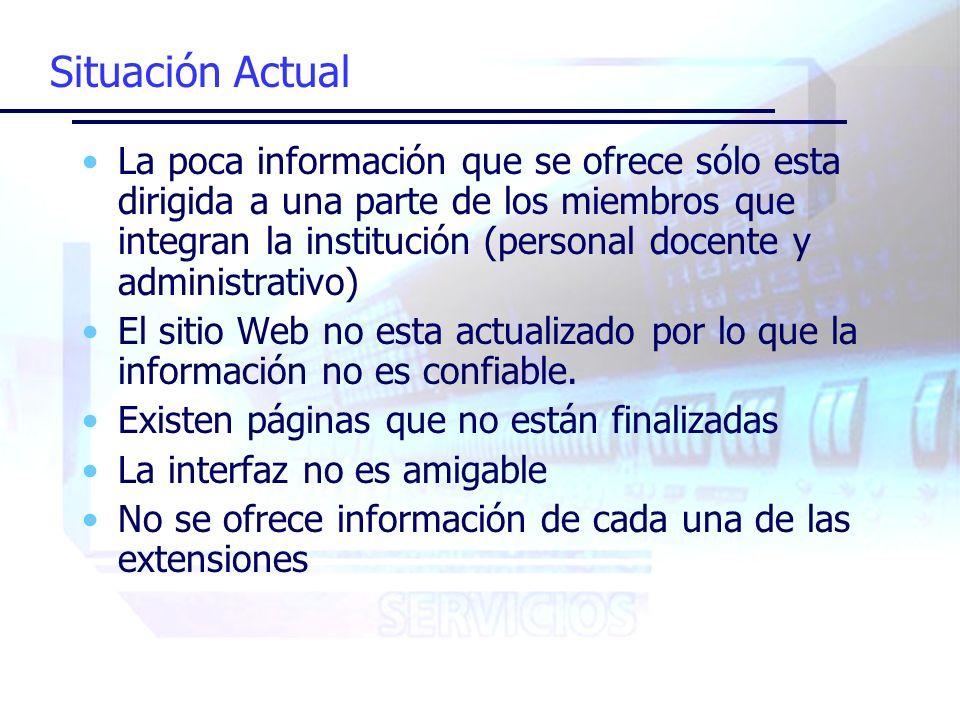 Situación Actual La poca información que se ofrece sólo esta dirigida a una parte de los miembros que integran la institución (personal docente y administrativo) El sitio Web no esta actualizado por lo que la información no es confiable.