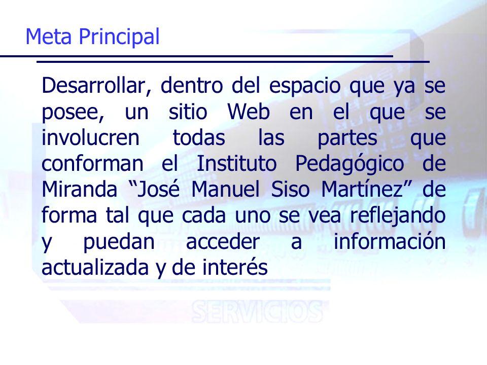 Satisfacción de Necesidades Fomentar el uso del sitio Web colocando información de interés para cada uno de los entes que integran la institución Actualizar y mantener el sitio Web tomando en cuenta a todas las partes Diseñar una interfaz amigable