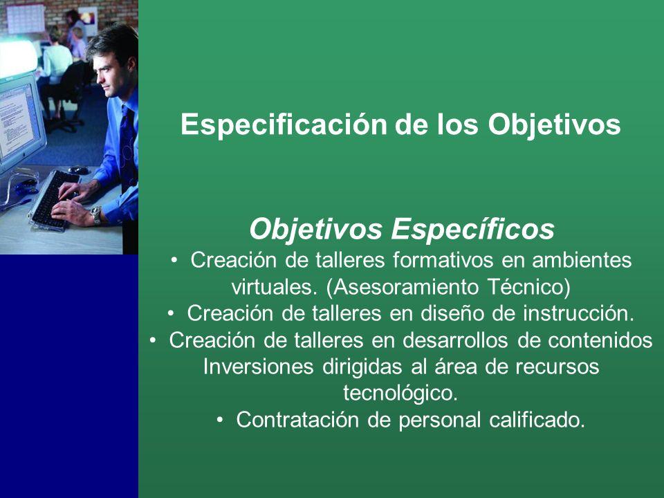 Objetivos Específicos Creación de talleres formativos en ambientes virtuales.