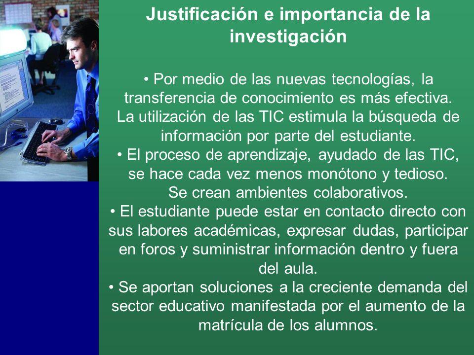 Justificación e importancia de la investigación Por medio de las nuevas tecnologías, la transferencia de conocimiento es más efectiva.
