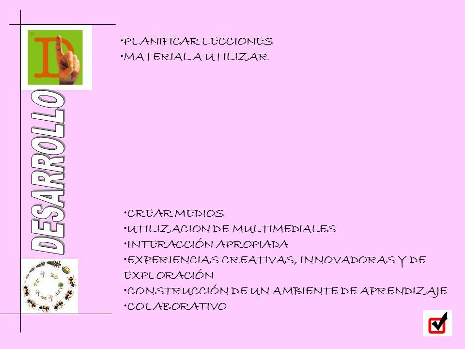 CREAR MEDIOS UTILIZACION DE MULTIMEDIALES INTERACCIÓN APROPIADA EXPERIENCIAS CREATIVAS, INNOVADORAS Y DE EXPLORACIÓN CONSTRUCCIÓN DE UN AMBIENTE DE AP