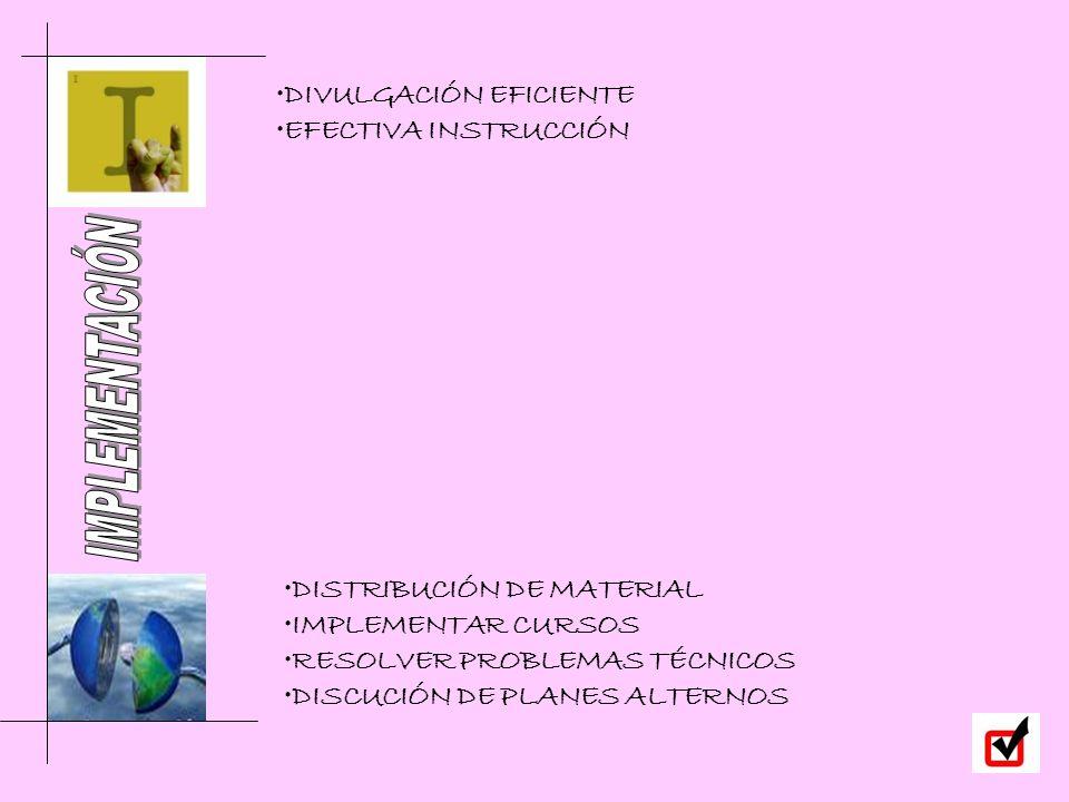 DISTRIBUCIÓN DE MATERIAL IMPLEMENTAR CURSOS RESOLVER PROBLEMAS TÉCNICOS DISCUCIÓN DE PLANES ALTERNOS DIVULGACIÓN EFICIENTE EFECTIVA INSTRUCCIÓN