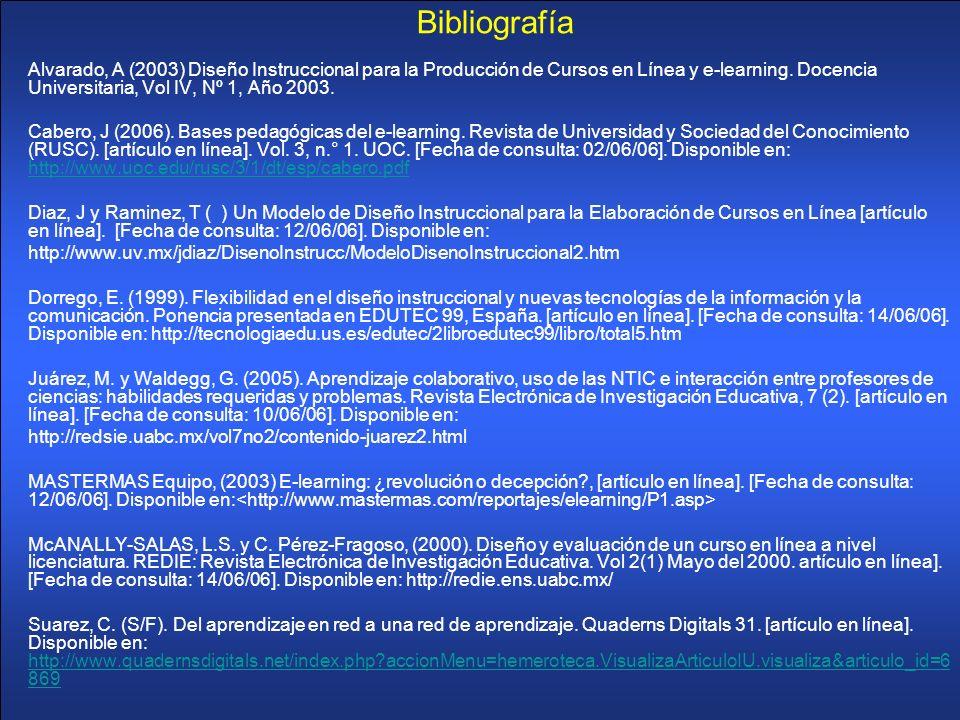 Bibliografía Alvarado, A (2003) Diseño Instruccional para la Producción de Cursos en Línea y e-learning. Docencia Universitaria, Vol IV, Nº 1, Año 200