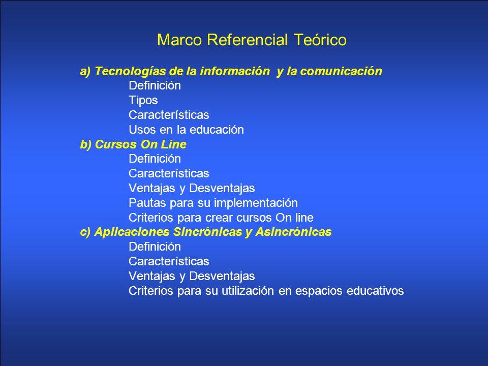 Marco Referencial Teórico a) Tecnologías de la información y la comunicación Definición Tipos Características Usos en la educación b) Cursos On Line D