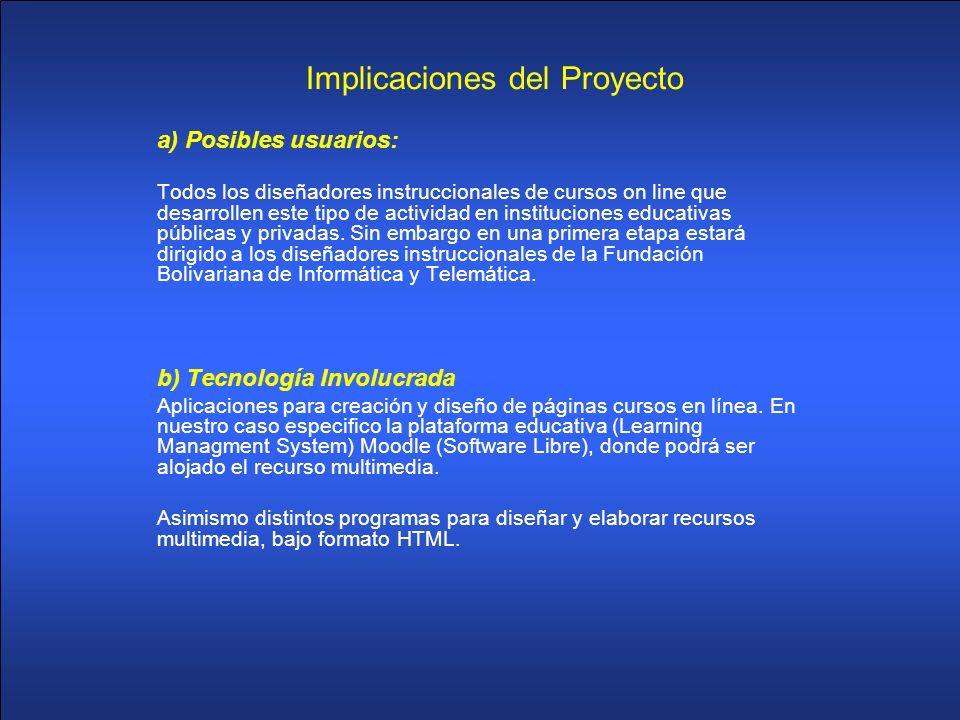 Implicaciones del Proyecto a) Posibles usuarios: Todos los diseñadores instruccionales de cursos on line que desarrollen este tipo de actividad en ins