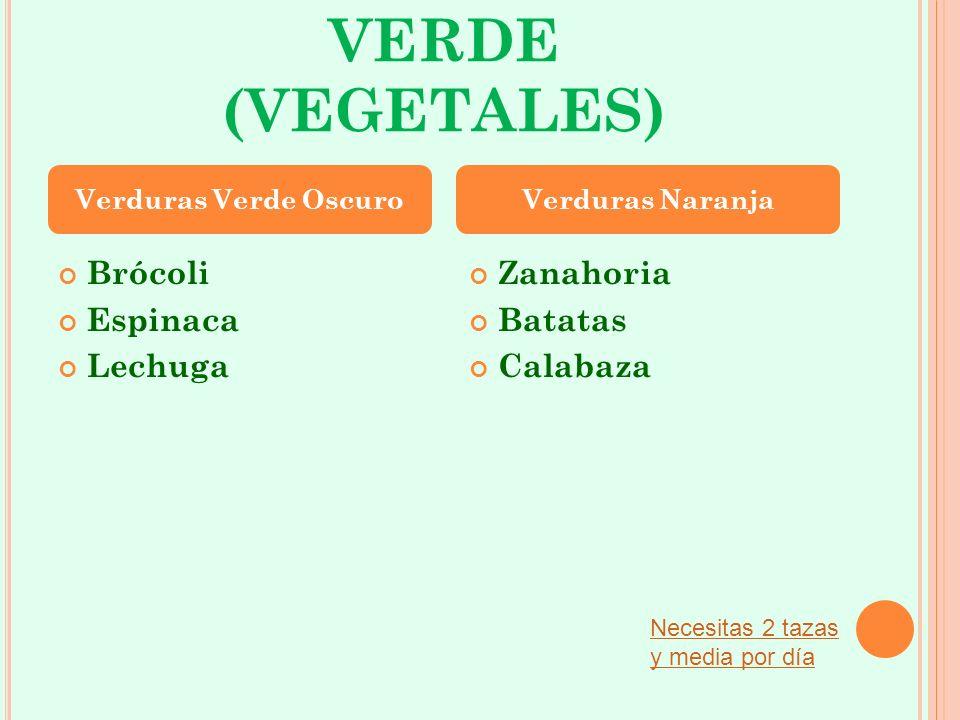 VERDE (VEGETALES) Brócoli Espinaca Lechuga Zanahoria Batatas Calabaza Verduras Verde OscuroVerduras Naranja Necesitas 2 tazas y media por día