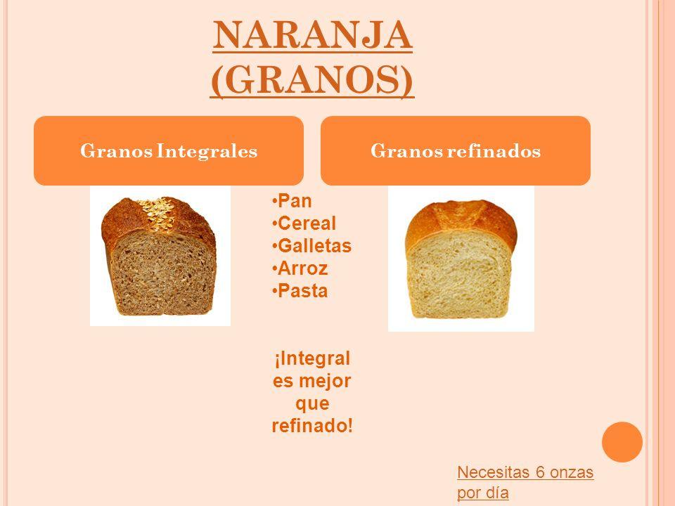 NARANJA (GRANOS) Granos IntegralesGranos refinados Pan Cereal Galletas Arroz Pasta ¡Integral es mejor que refinado! Necesitas 6 onzas por día
