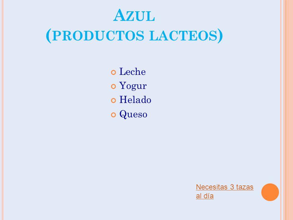 A ZUL ( PRODUCTOS LACTEOS ) Leche Yogur Helado Queso Necesitas 3 tazas al día