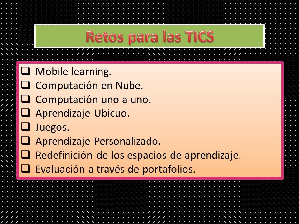 Mobile learning. Computación en Nube. Computación uno a uno. Aprendizaje Ubicuo. Juegos. Aprendizaje Personalizado. Redefinición de los espacios de ap