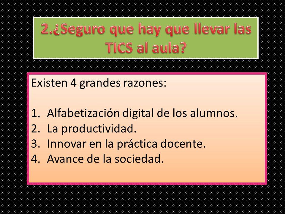 Existen 4 grandes razones: 1.Alfabetización digital de los alumnos. 2.La productividad. 3.Innovar en la práctica docente. 4.Avance de la sociedad. Exi
