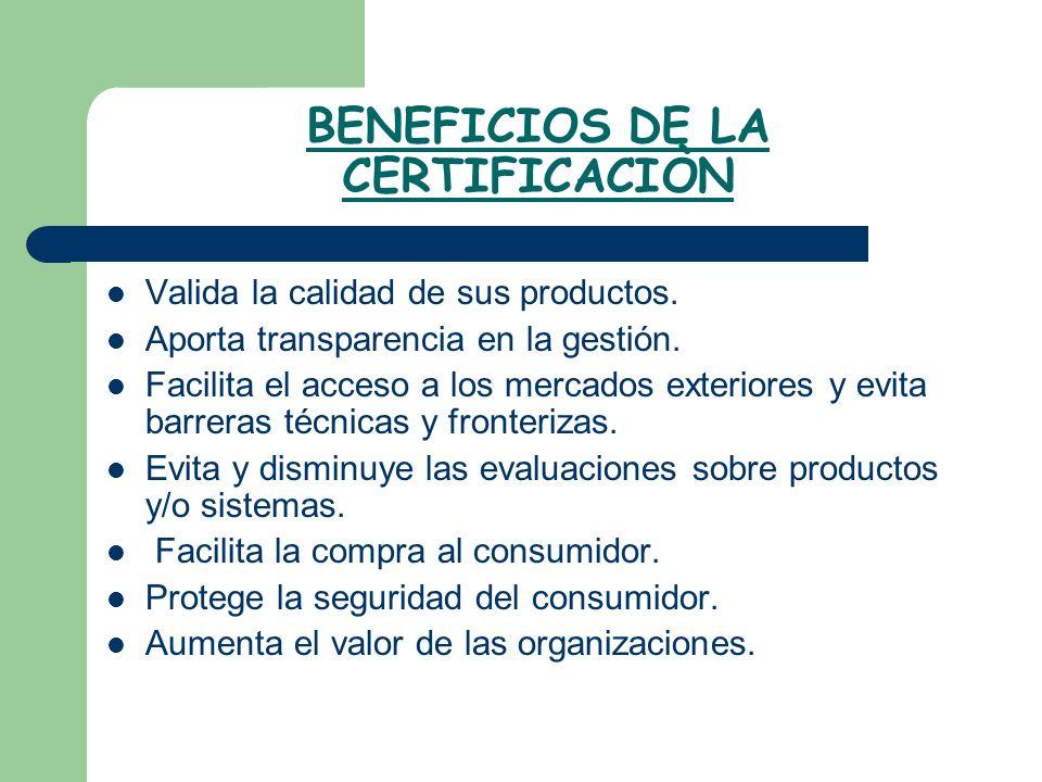 BENEFICIOS DE LA CERTIFICACIÒN Valida la calidad de sus productos. Aporta transparencia en la gestión. Facilita el acceso a los mercados exteriores y