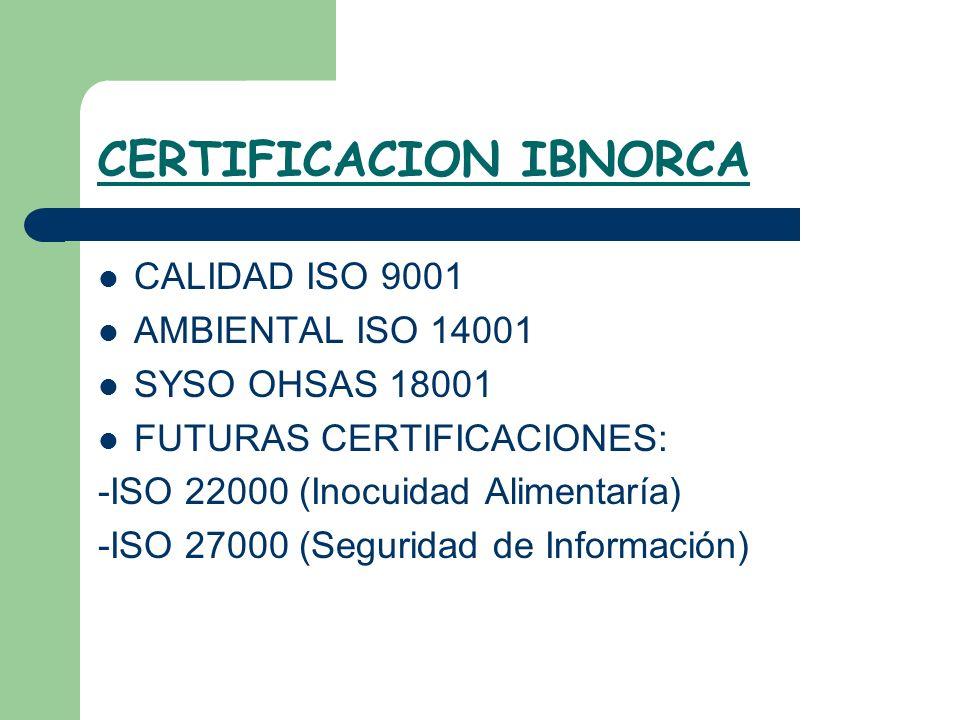 CERTIFICACION IBNORCA CALIDAD ISO 9001 AMBIENTAL ISO 14001 SYSO OHSAS 18001 FUTURAS CERTIFICACIONES: -ISO 22000 (Inocuidad Alimentaría) -ISO 27000 (Se
