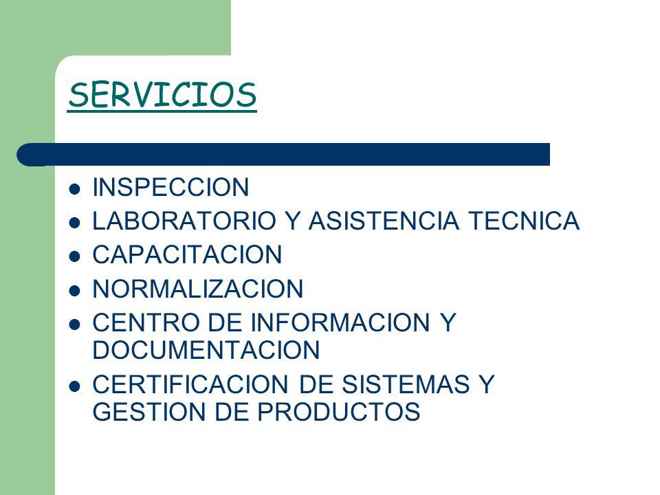SERVICIOS INSPECCION LABORATORIO Y ASISTENCIA TECNICA CAPACITACION NORMALIZACION CENTRO DE INFORMACION Y DOCUMENTACION CERTIFICACION DE SISTEMAS Y GES