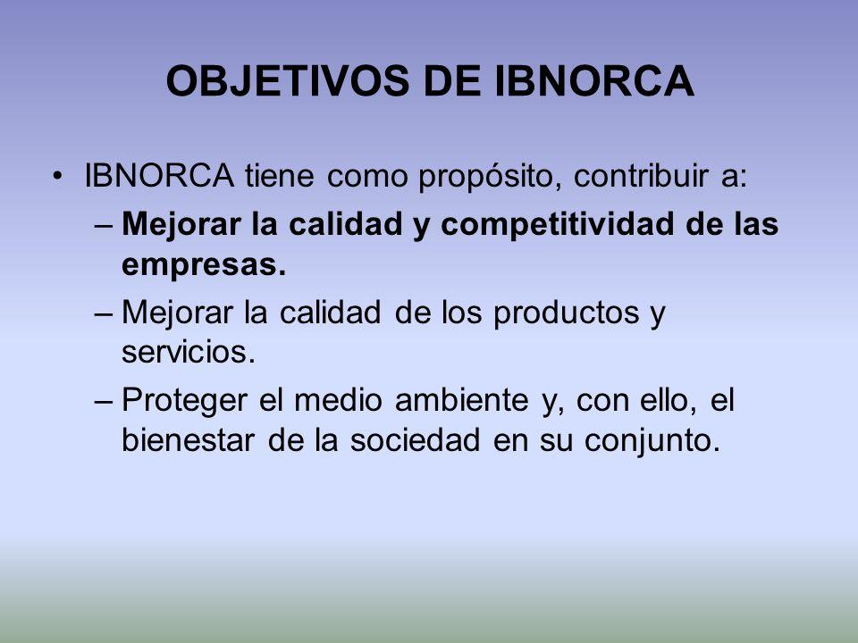 OBJETIVOS DE IBNORCA IBNORCA tiene como propósito, contribuir a: –Mejorar la calidad y competitividad de las empresas. –Mejorar la calidad de los prod