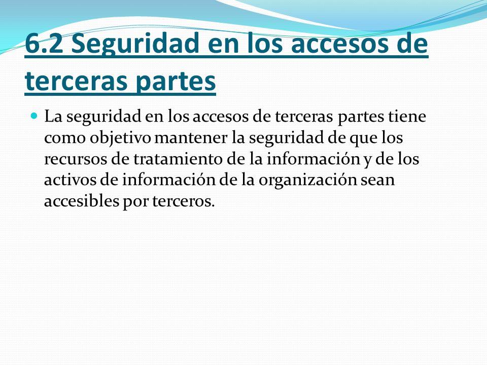 6.2.1 Identificación de riesgos por el acceso de terceros Control.- Los riesgos a la información de la organización y a las instalaciones del procesamiento de información desde los procesos del negocio que impliquen a terceros deben ser identificados y se debe implementar controles apropiados antes de conceder el acceso a los mismos.