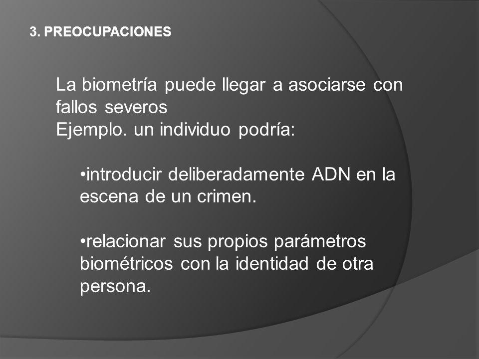 3. PREOCUPACIONES La biometría puede llegar a asociarse con fallos severos Ejemplo. un individuo podría: introducir deliberadamente ADN en la escena d