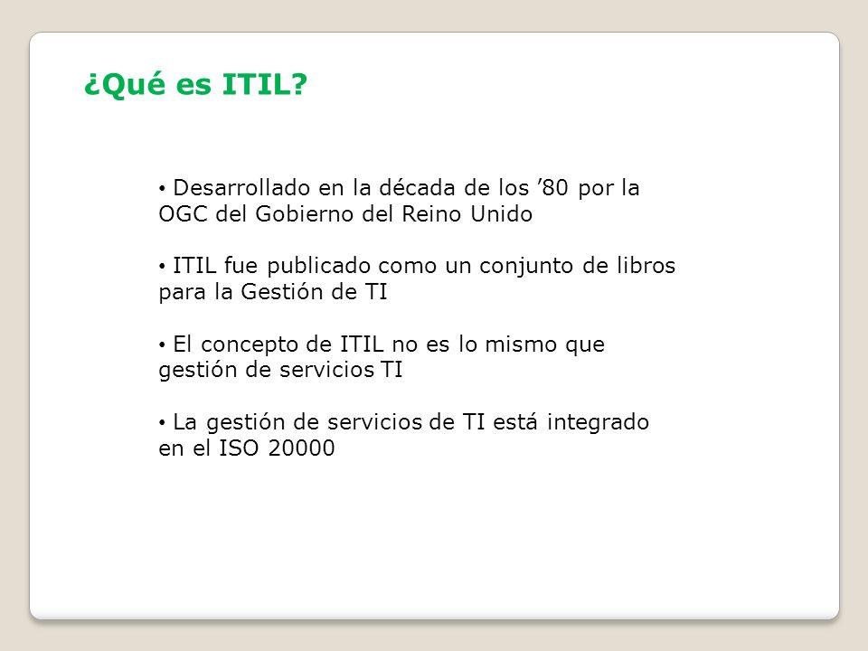¿Qué es ITIL? Desarrollado en la década de los 80 por la OGC del Gobierno del Reino Unido ITIL fue publicado como un conjunto de libros para la Gestió