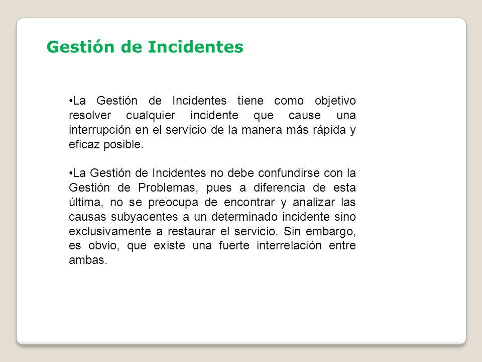 Gestión de Incidentes La Gestión de Incidentes tiene como objetivo resolver cualquier incidente que cause una interrupción en el servicio de la manera