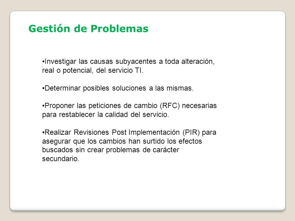Gestión de Problemas Investigar las causas subyacentes a toda alteración, real o potencial, del servicio TI. Determinar posibles soluciones a las mism