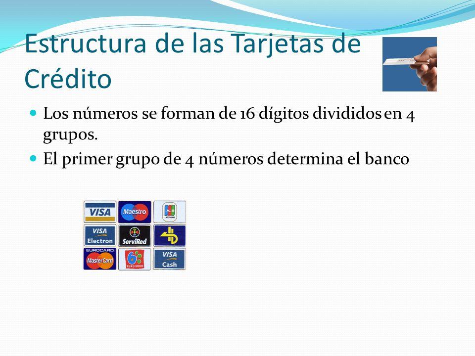 Estructura de las Tarjetas de Crédito Los números se forman de 16 dígitos divididos en 4 grupos. El primer grupo de 4 números determina el banco