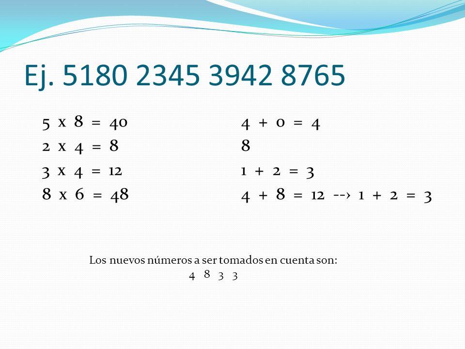 Ej. 5180 2345 3942 8765 5 x 8 = 40 2 x 4 = 8 3 x 4 = 12 8 x 6 = 48 4 + 0 = 4 8 1 + 2 = 3 4 + 8 = 12 -- 1 + 2 = 3 Los nuevos números a ser tomados en c