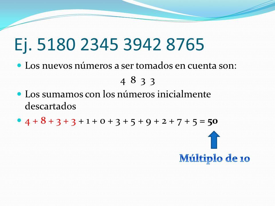 Ej. 5180 2345 3942 8765 Los nuevos números a ser tomados en cuenta son: 4 8 3 3 Los sumamos con los números inicialmente descartados 4 + 8 + 3 + 3 + 1