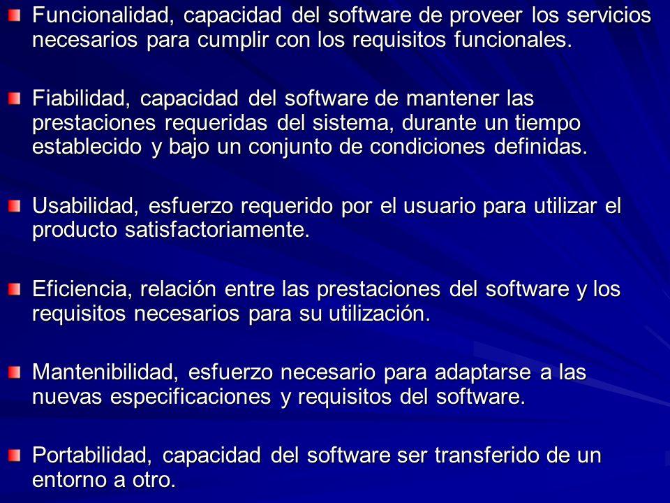Funcionalidad, capacidad del software de proveer los servicios necesarios para cumplir con los requisitos funcionales. Fiabilidad, capacidad del softw