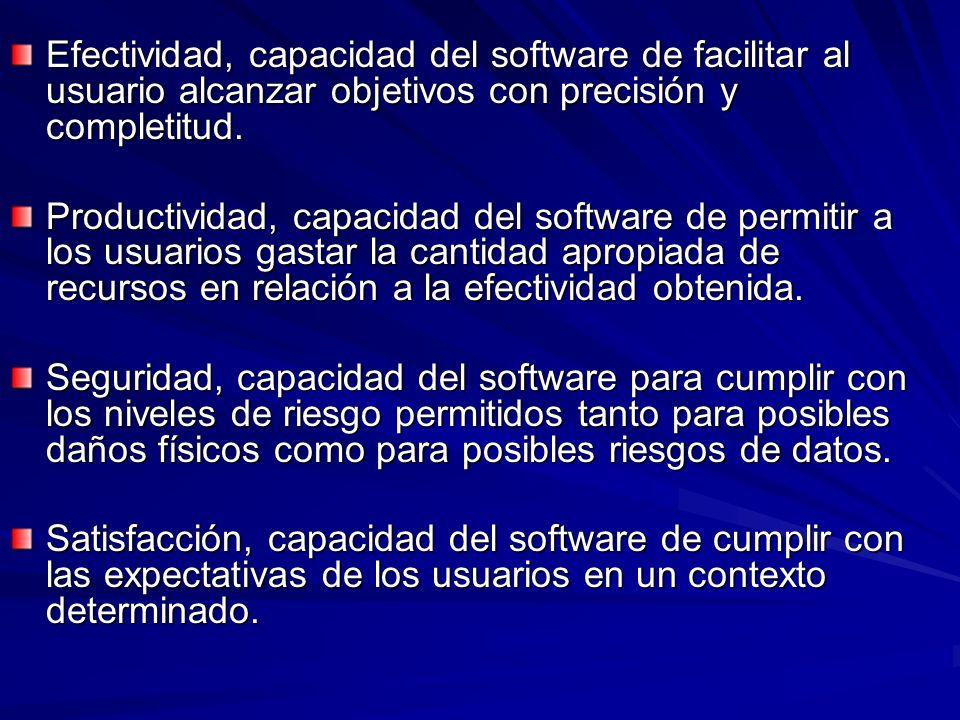 Efectividad, capacidad del software de facilitar al usuario alcanzar objetivos con precisión y completitud. Productividad, capacidad del software de p