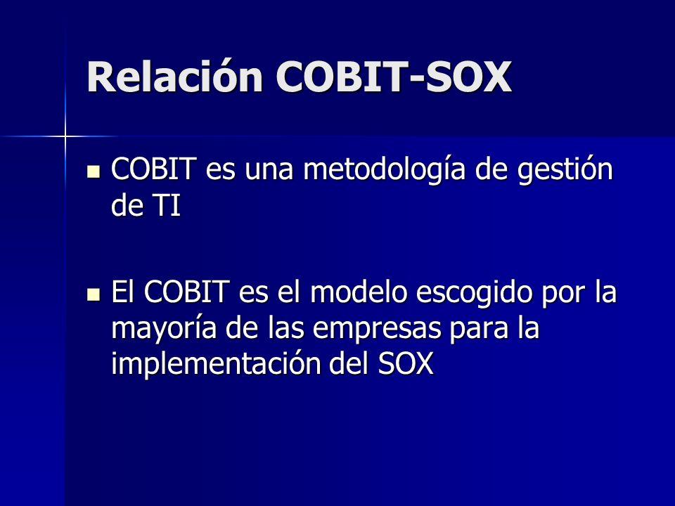 Relación COBIT-SOX COBIT es una metodología de gestión de TI COBIT es una metodología de gestión de TI El COBIT es el modelo escogido por la mayoría de las empresas para la implementación del SOX El COBIT es el modelo escogido por la mayoría de las empresas para la implementación del SOX