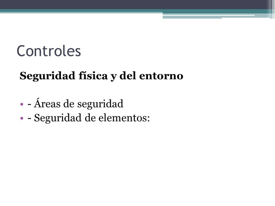 Controles Seguridad física y del entorno - Áreas de seguridad - Seguridad de elementos: