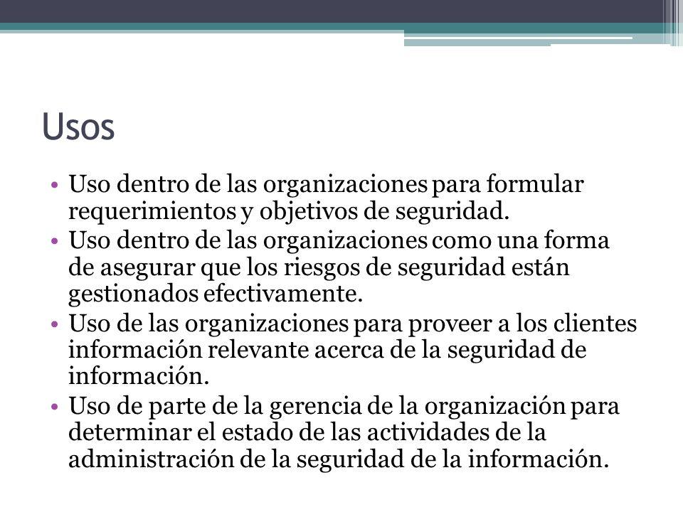 Usos Uso dentro de las organizaciones para formular requerimientos y objetivos de seguridad. Uso dentro de las organizaciones como una forma de asegur