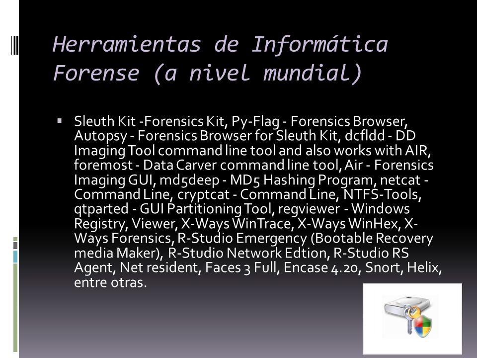 Herramientas de Informática Forense (a nivel mundial) Sleuth Kit -Forensics Kit, Py-Flag - Forensics Browser, Autopsy - Forensics Browser for Sleuth K