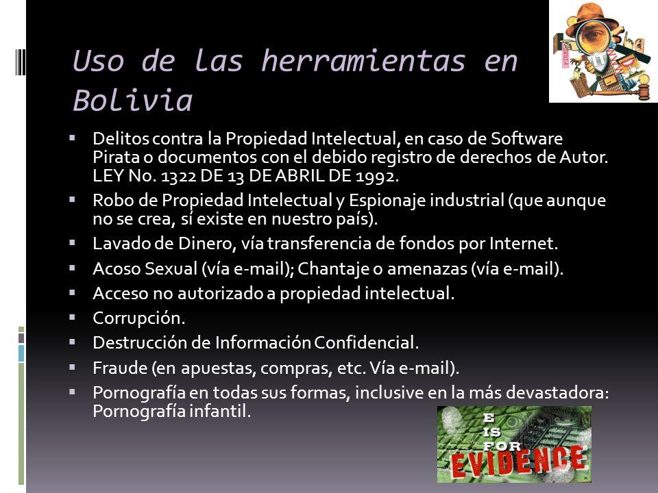 Uso de las herramientas en Bolivia Delitos contra la Propiedad Intelectual, en caso de Software Pirata o documentos con el debido registro de derechos