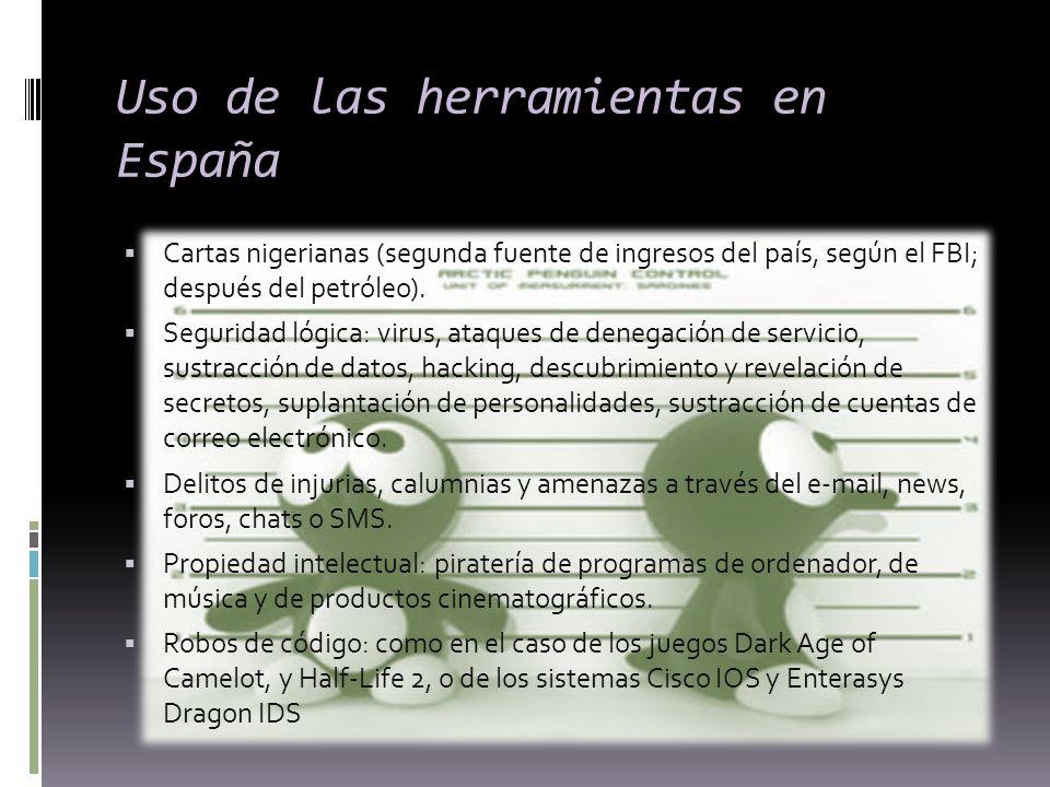 Uso de las herramientas en España Cartas nigerianas (segunda fuente de ingresos del país, según el FBI; después del petróleo). Seguridad lógica: virus