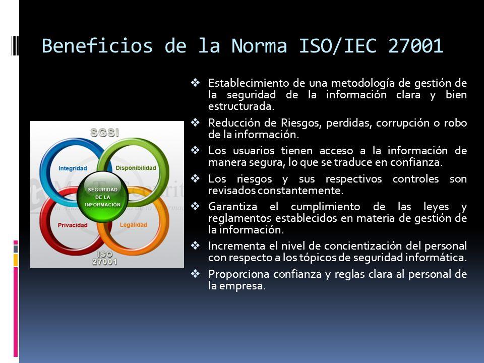 Comparación con la norma ISO 17799 La ISO 17799 no es certificable, ni fue diseñada para esto.