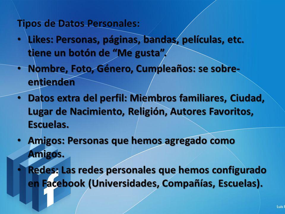 Tipos de Datos Personales: Likes: Personas, páginas, bandas, películas, etc. tiene un botón de Me gusta. Likes: Personas, páginas, bandas, películas,