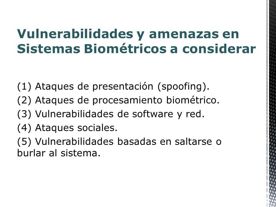 (1) Ataques de presentación (spoofing). (2) Ataques de procesamiento biométrico.