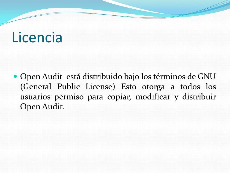 Licencia Open Audit está distribuido bajo los términos de GNU (General Public License) Esto otorga a todos los usuarios permiso para copiar, modificar