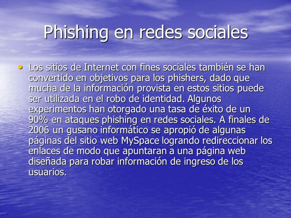 Phishing en redes sociales Los sitios de Internet con fines sociales también se han convertido en objetivos para los phishers, dado que mucha de la in