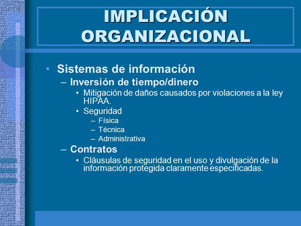 IMPLICACIÓN ORGANIZACIONAL Sistemas de información –Inversión de tiempo/dinero Mitigación de daños causados por violaciones a la ley HIPAA. Seguridad