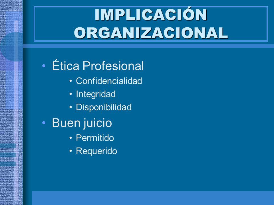 IMPLICACIÓN ORGANIZACIONAL Ética Profesional Confidencialidad Integridad Disponibilidad Buen juicio Permitido Requerido