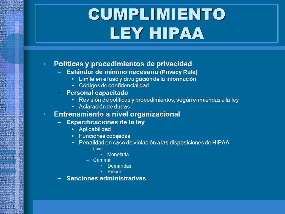 CUMPLIMIENTO LEY HIPAA Políticas y procedimientos de privacidad –Estándar de mínimo necesario (Privacy Rule) Límite en el uso y divulgación de la info
