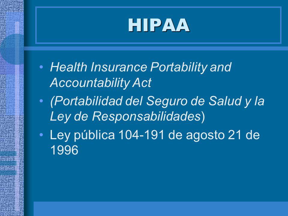 ESTRUCTURA HIPAA Titulo I: Portabilidad Grupo Transacciones y Códigos Estándar Publicado en 8/2000 Efectivo en 10/2002 HIPAA Títulos III, IV y V Título II : Simplificación Administrativa SeguridadPrivacidad Identificadores Únicos Patronos: efectivo en 7/04 Publicado 12/2000 Enmendado 8/2002 Efectivo en 4/2003