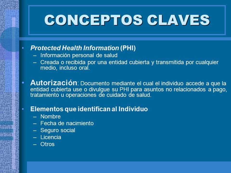 CONCEPTOS CLAVES Protected Health Information (PHI) –Información personal de salud –Creada o recibida por una entidad cubierta y transmitida por cualq
