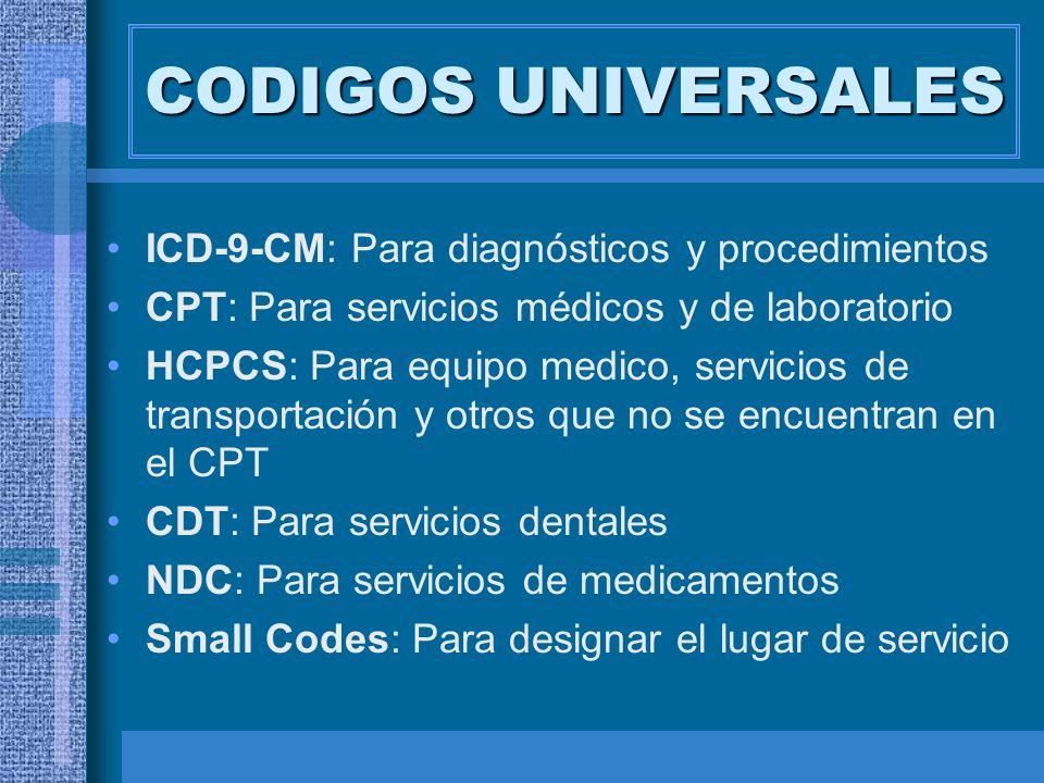 CODIGOS UNIVERSALES ICD-9-CM: Para diagnósticos y procedimientos CPT: Para servicios médicos y de laboratorio HCPCS: Para equipo medico, servicios de
