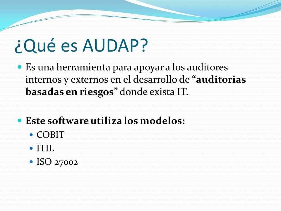 ¿Qué es AUDAP? Es una herramienta para apoyar a los auditores internos y externos en el desarrollo de auditorias basadas en riesgos donde exista IT. E
