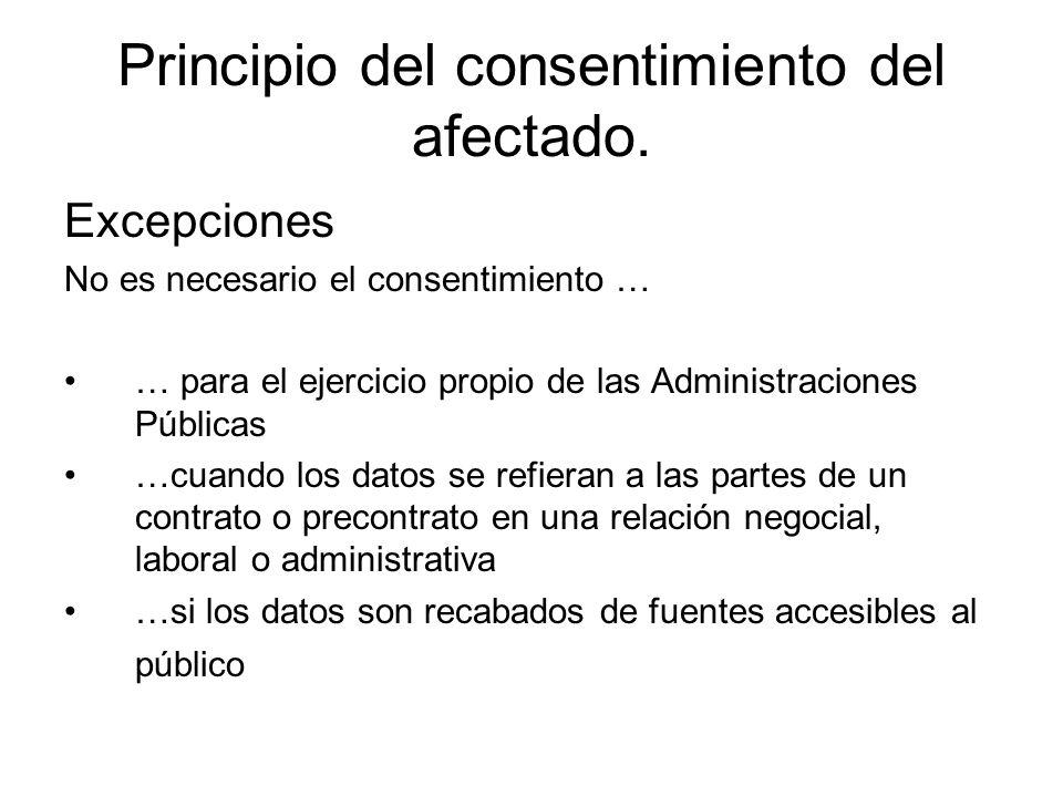 Principio del consentimiento del afectado. Excepciones No es necesario el consentimiento … … para el ejercicio propio de las Administraciones Públicas
